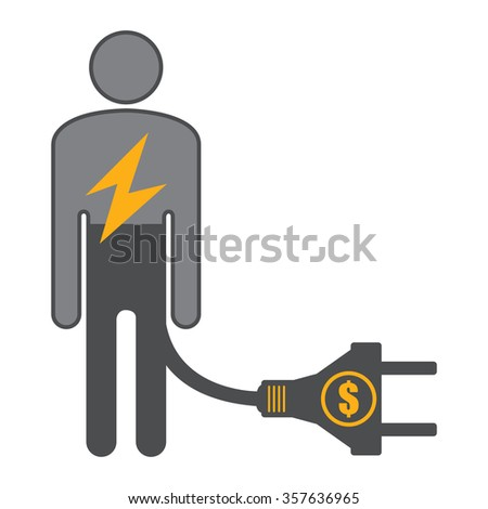 Black Low Battery Businessman With Dollar Currency Cash Power Cable Infographics Flat Icon, Sign Isolated on White Background - stock photo
