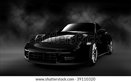 Black luxury dream sports car / sportscar in smoke filled cloudy studio - stock photo