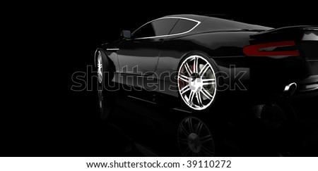 Black luxury dream sports car / sportscar in studio isolated on black with reflection and copy space - stock photo