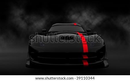 Black luxury dream sports car / sportscar with red stripe in smoke filled cloudy studio