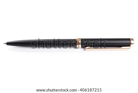 Black luxury pen mockup isolated on a white background. Nice pen for expensive design presentation. Mock up of dark pen on the white. Perfect way to show the corporate identity. Drawing and writing..