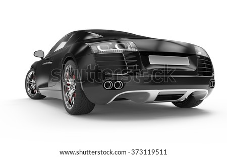 Black luxury sport car isolated on a white background - stock photo
