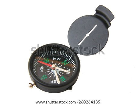 Black magnetic compass isolated on white background - stock photo