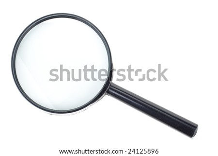 Black magnifier isolated on a white background