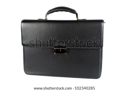black male briefcase isolated on white background - stock photo
