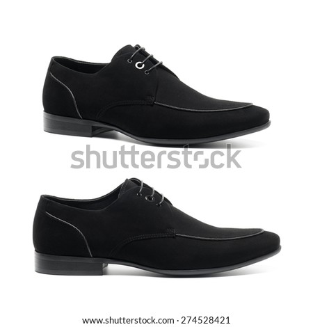 Black male fashion suede shoes on white background - stock photo