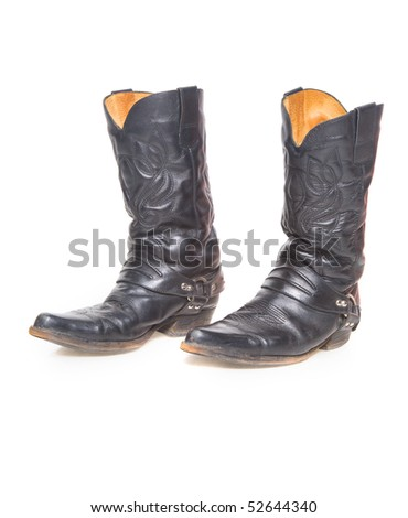 Black male high leather boots on a white background isolated - stock photo