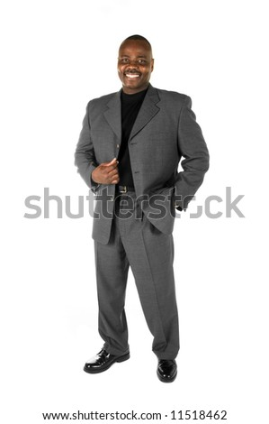 Black male model in suit on white background - stock photo