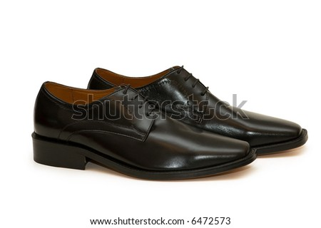 Black male shoes isolated  on the white - more similar photos in my portfolio - stock photo