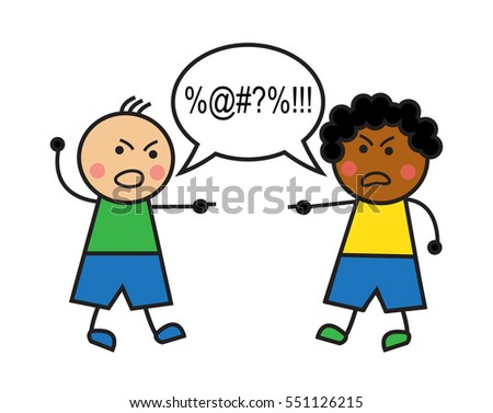 black man and caucasian man swear and conflict