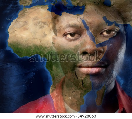 Black man and map of Africa on the background - stock photo