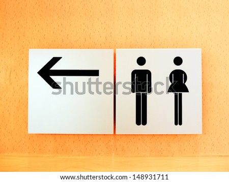 Black man and woman sign restroom. - stock photo