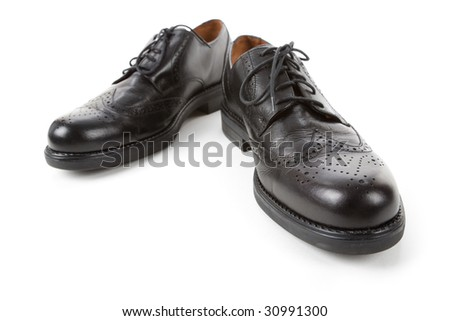 Black man business shoes with white background