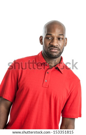 Black man curling lip in disgust isolated on a white background