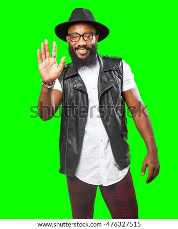 black man doing a stop gesture