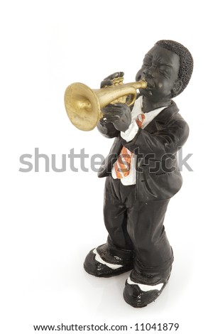 black man is playing jazz at the trumpet - stock photo