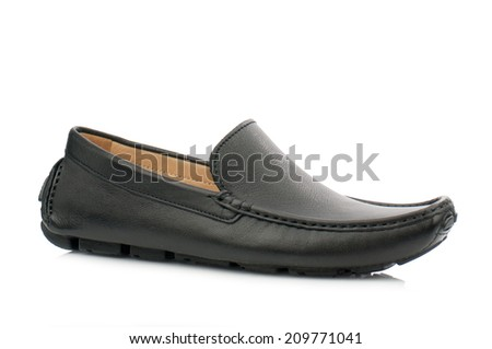 Black man leather shoe isolated on white background(loafer)