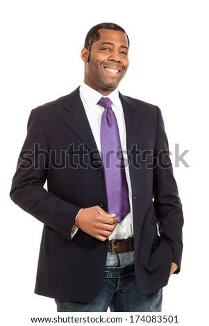 black man of african ethnicity, studio portrait, isolated on white background - stock photo
