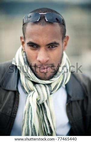 black man outside - stock photo
