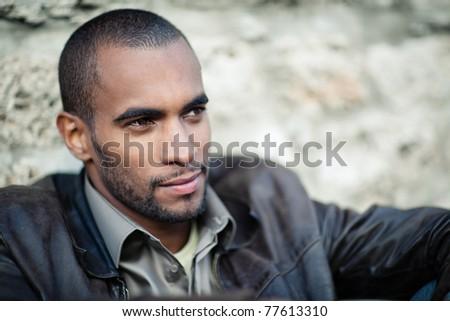 black man portrait outside - stock photo