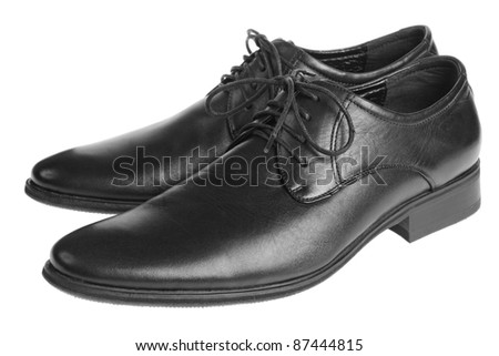 black man's  shoes isolated on white background - stock photo