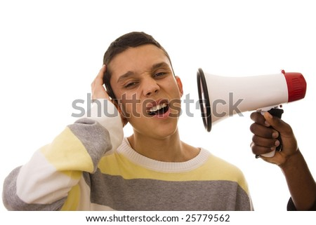 Black Man shouting with his friend - stock photo