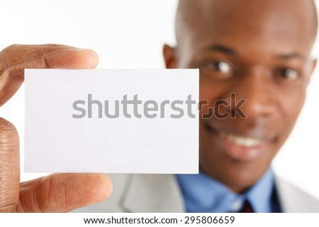 Black man showing a blank business card - stock photo
