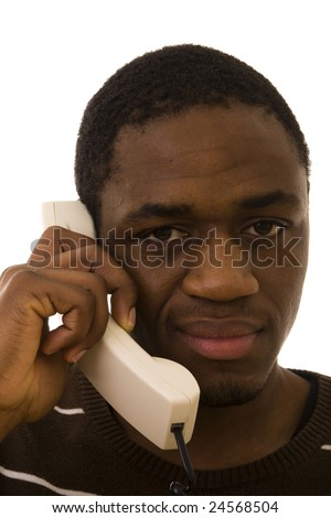 Black man with a funny expression on phone - stock photo