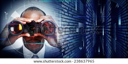 Black Man with binoculars on techno background - stock photo