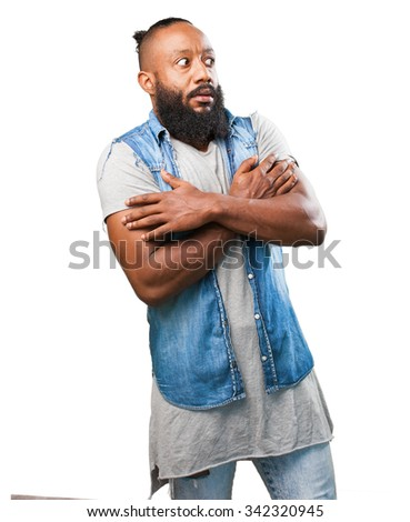 black man with cold on white - stock photo