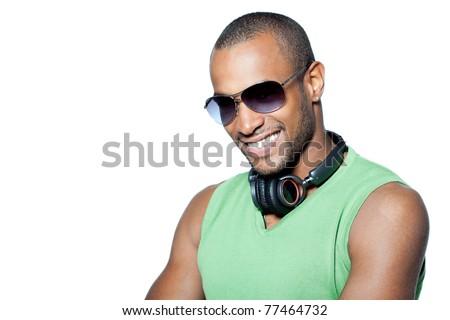 black man with headphone - stock photo
