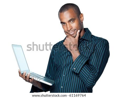 Black man with laptop - stock photo
