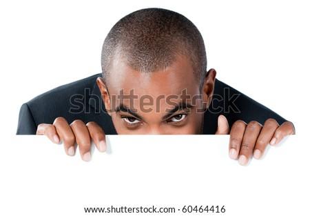 black man with panel - stock photo