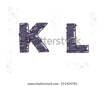 Black marker scribble stencil letters on white paper - stock photo