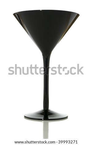 Black martini glass isolated on white with clipping path - stock photo