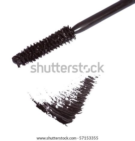 Black mascara brush stroke - stock photo