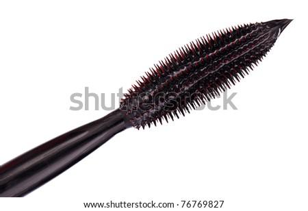 Black mascara brush tip, isolated on white macro - stock photo
