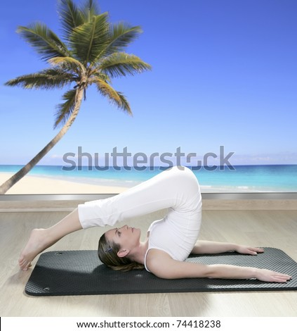 black mat yoga woman window view of palm tree beach tropical sea [Photo Illustration]