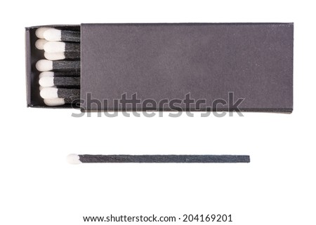Black matches with white sulfur isolated - stock photo