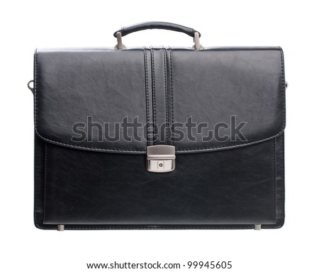 Black men briefcase isolated over white - stock photo