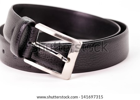 Black men leather belt isolated on white