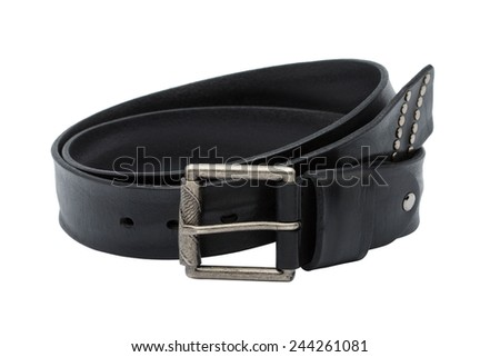 Black men leather belt isolated on white background