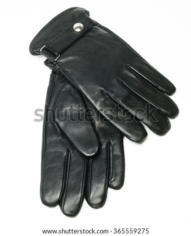 black men leather gloves isolated