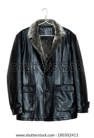 Black men's leather jacket on a hanger. Isolated on white