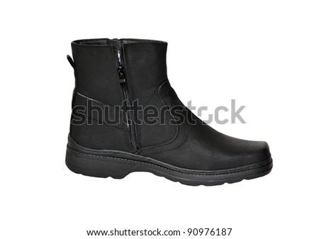 black men's shoe - stock photo