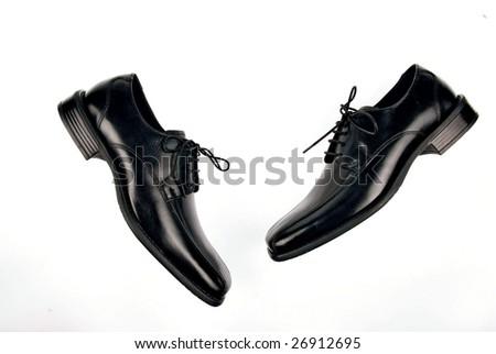 black men's shoes - stock photo