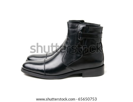 black mens boots white isolated