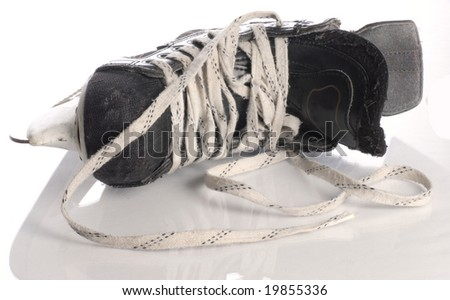 black mens hockey skate isolated on white background - stock photo