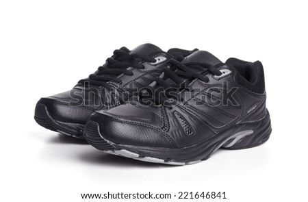 black mens sports shoes on a white background - stock photo