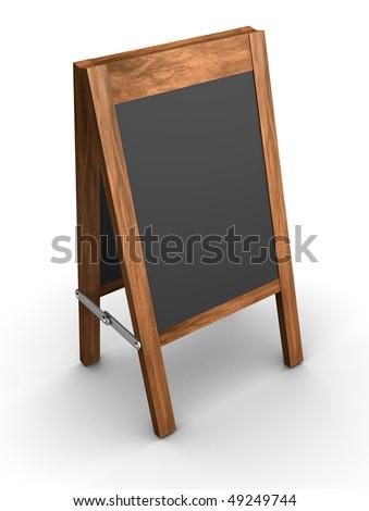 Black menu blackboard over white - 3d render - stock photo